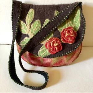 Vintage 100% Wool BoHo Shoulder Bag